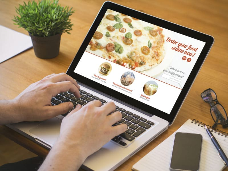 Order pizza on laptop