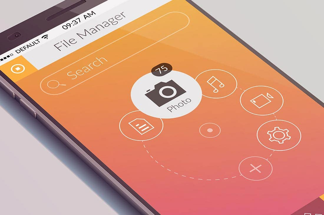 File manager open on Smartphone