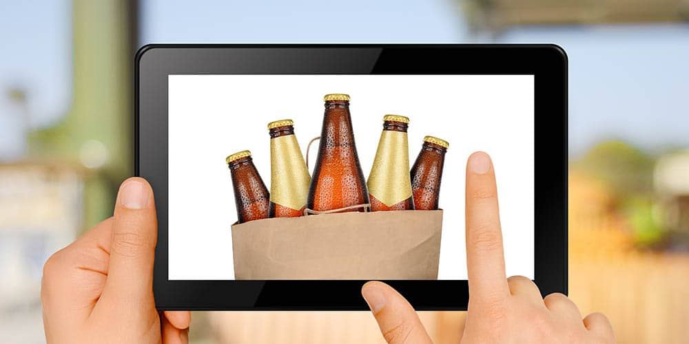Bottles of beer displayed on tablet