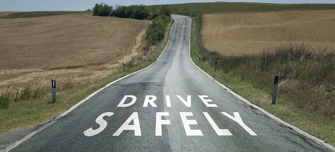 Road scene with Drive Safely